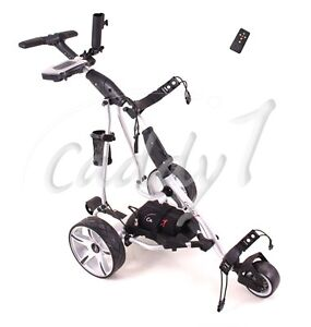 elektro golf trolley caddyone 455 silber inkl 20ah lithium akku fernbedienung ebay. Black Bedroom Furniture Sets. Home Design Ideas