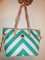 Dooney & Bourke Large Green & White Chevron Tote Shopper Bailey Bag
