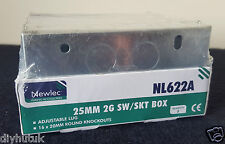 5 x Newlec Metal Switch & Socket Back Box Twin Gang 25mm With 16 Knockouts