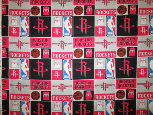 HOUSTON ROCKETS CHECKED NBA BASKETBALL LICENSED QUILTING COTTON FABRIC FQ
