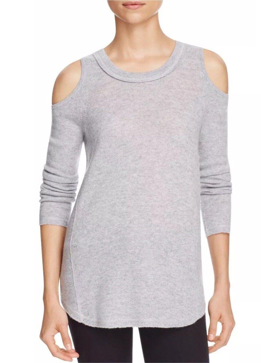 Aqua 100% Cashmere Cold Shoulder Sweater Light Grey Size Large  188 New