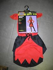 NWT GIRL'S TOTALLY GHOUL CLASSIC DEVIL COSTUME DRESS HEADPIECE GLOVES MEDIUM