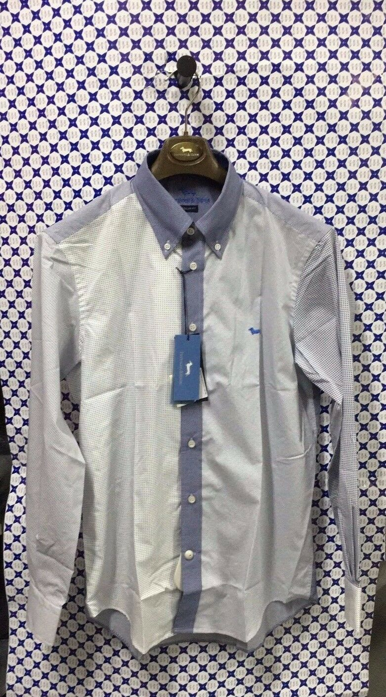 Camicia HARMONT & BLAINE herren Microfantasia Regular Fit -- Bianco Blau Navy C0038