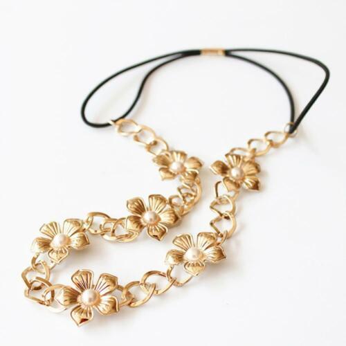 kette bündchen metall silber schmuck mode frauen haarband kopf gold blume