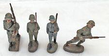 4 Soldaten mit Gewehr LINEOL ELASTOLIN Massefigur 2. WK, II WK