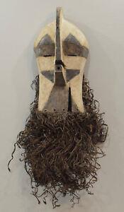 African-Mask-Songye-Congo-Male-Brown-White-Wood-Raffia-Male-Kifwebe-Sonyge-Mask