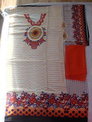 Bello Indiano Pakistano Stampato Lino Tuta Arancione D4b Quelli Separati Per L'inverno 2018-mostra Il Titolo Originale Alta Qualità E Basso Sovraccarico