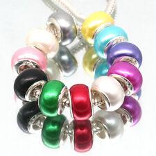 Lots 100Pcs Mix Pearl Acrylic Hole Charm Bead Fit European Bracelets Necklace F4