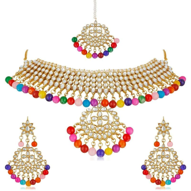 Indian Kundan New Latest Gold Tone Jewelry Traditional Bollywood