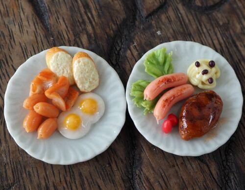 Dollhouse Miniature Breakfast Steak Fried Egg Ham Bread Food on Plate Size 35 mm
