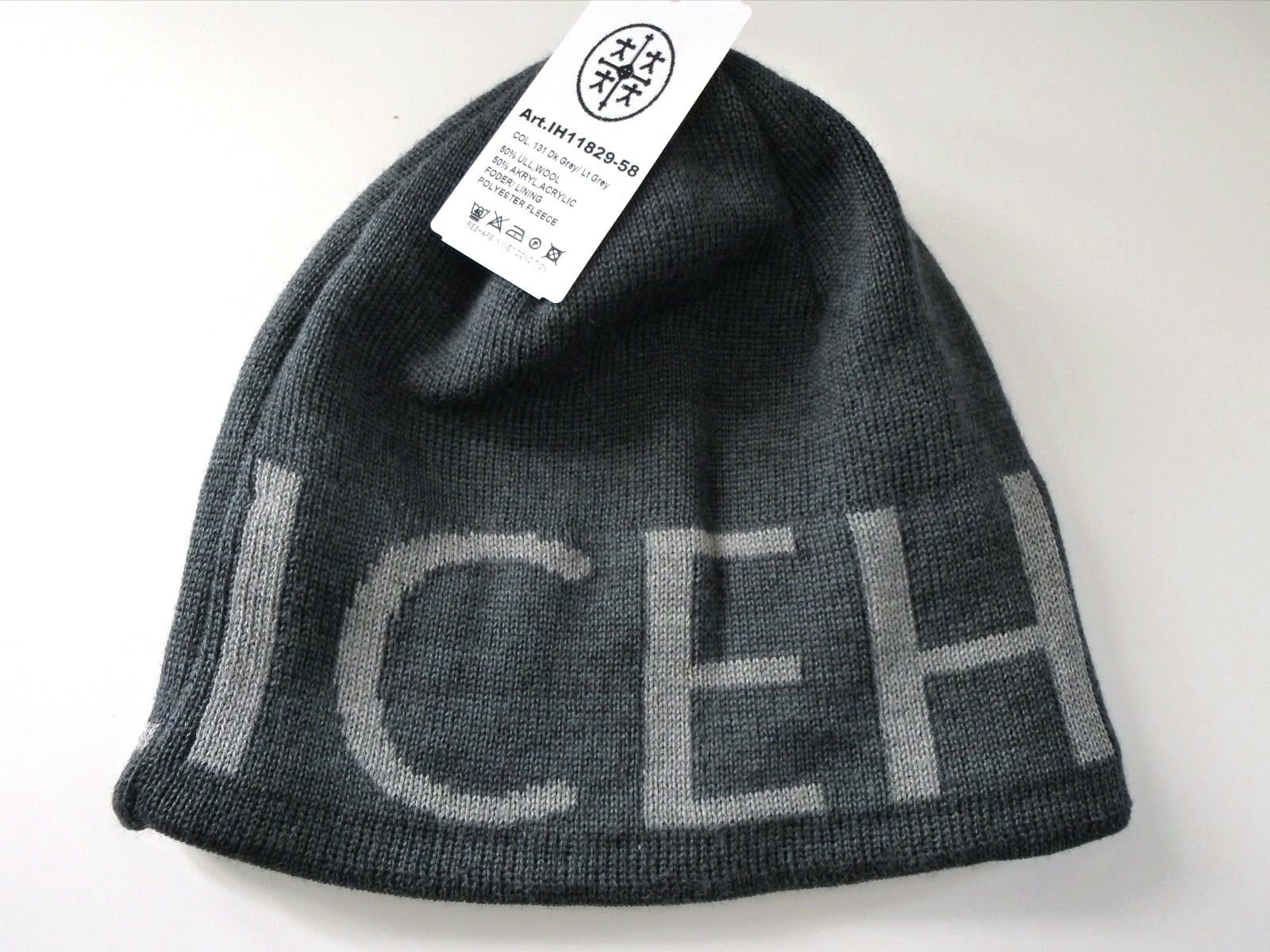 ICE HOTEL Sweden Dark Grey WOOL Beanie Toque Hat Fleece Headband UNISEX Tags