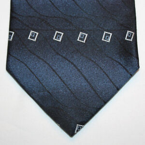 NEW-George-Silk-Neck-Tie-Dark-Blue-Navy-with-Silver-and-Light-Blue-Pattern-863