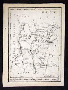 1833-Perrot-Tardieu-Map-Mayenne-Chateau-Gortier-France-Miniature-Antique-Map