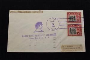 1ST-Vuelo-Cubierta-1941-Mano-Cancelado-1ST-Trans-Pacific-Suva-a-San-Francisco
