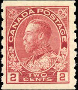 1912-Mint-H-Canada-2c-F-VF-Scott-127-Admiral-KGV-Coil-Stamp