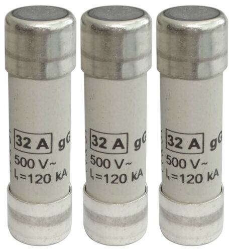 3x fusible céramique gG 5cm 32A 32000mA 500VAC 14x51mm