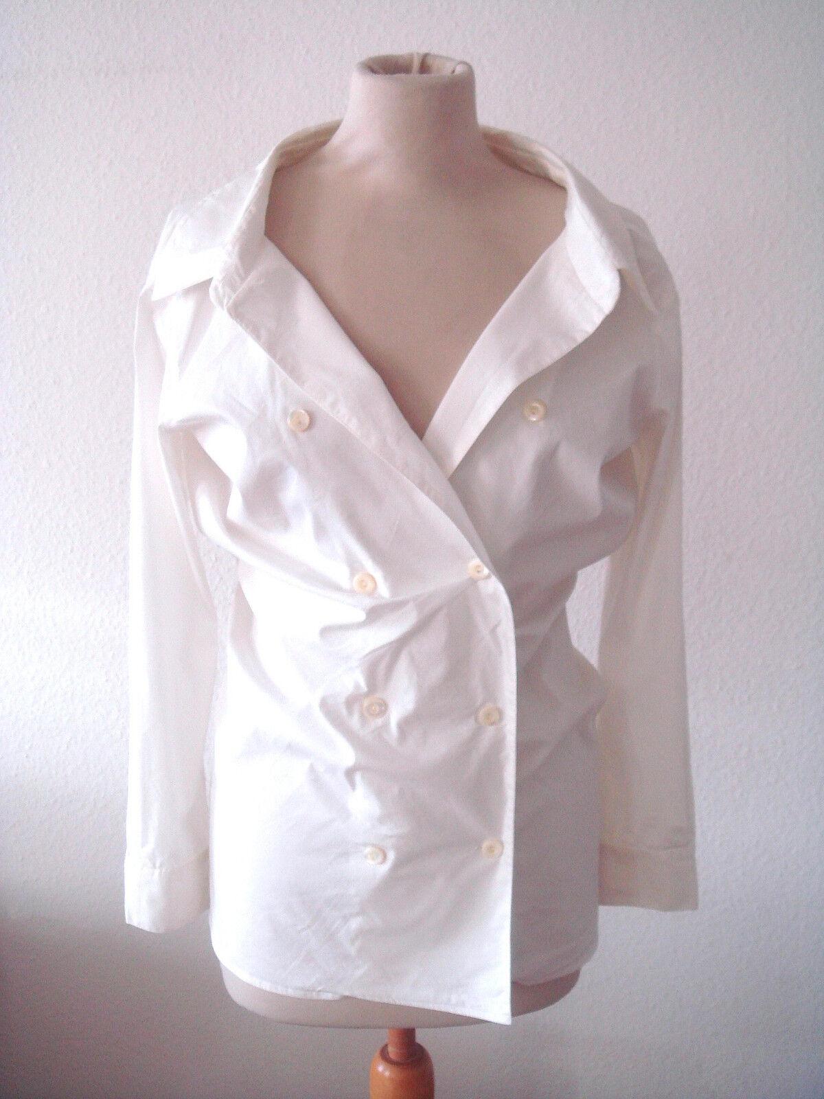 MAX MARA MAINLINE bluese Hemd Hemdbluese Fashionbluese großer Kragen white Gr.38