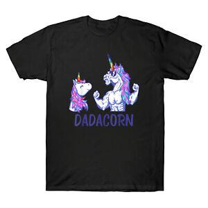 Dadacorn-Licorne-Papa-et-Bebe-Pere-039-s-Jour-homme-a-manches-courtes-T-shirt-coton-Tee