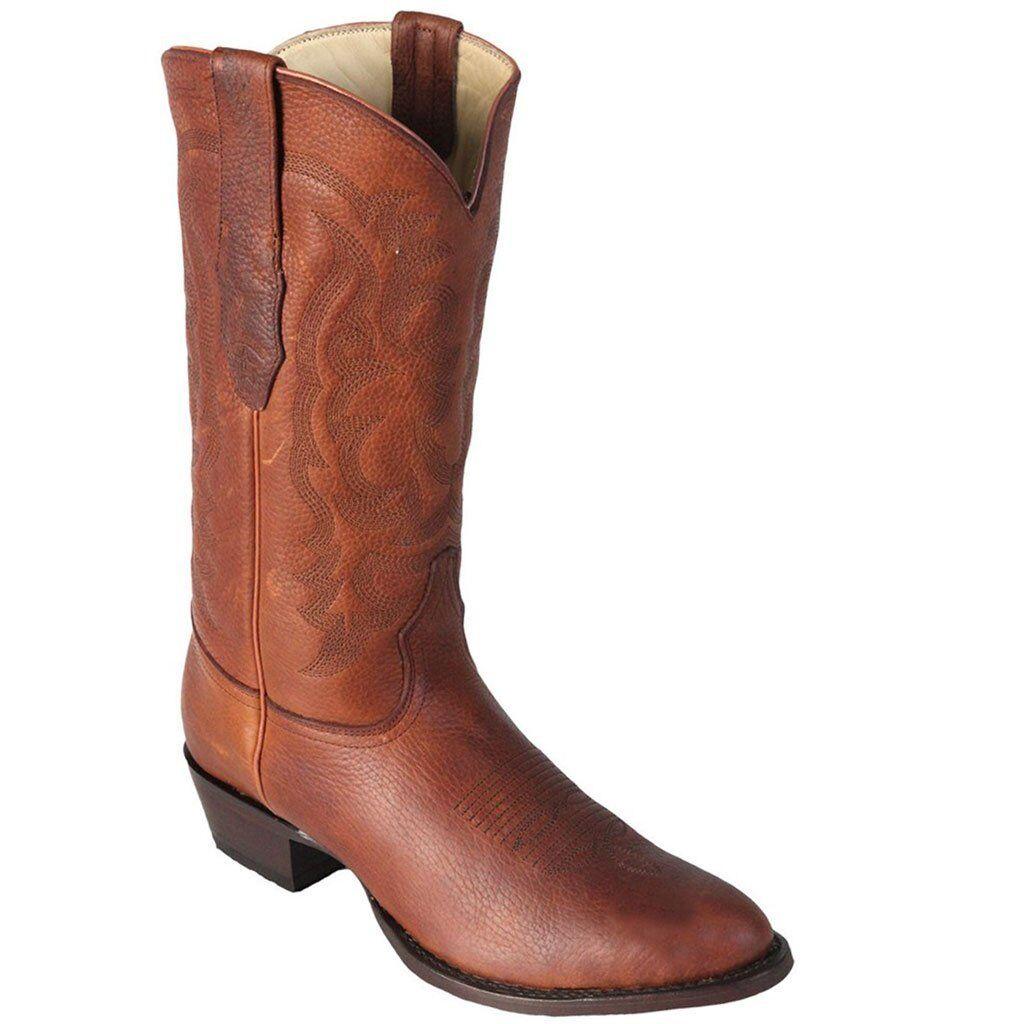 Para hombres Cuero Genuino los altos miel espeluznante botas De Punta rojoonda Vaquero Occidental D
