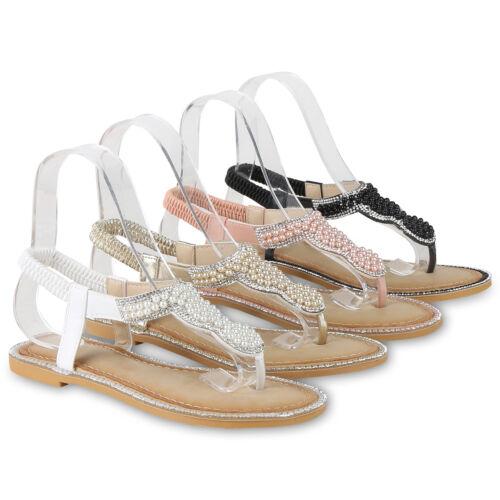 Damen Sandalen Zehentrenner Strass Zierperlen Sommer Flats 822293 Schuhe