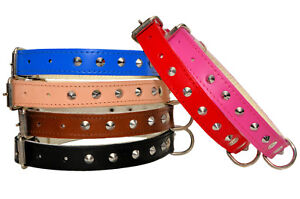 Cuir-Veritable-Cloute-Colliers-Chien-Marron-Noir-Naturel-Rouge-Rose-Bleu