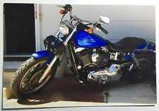 Vintage PHOTO Of A Blue Harley Davidson Motorcycle By The Back Door Of House