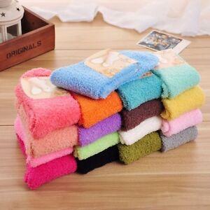 Women-039-s-Candy-Color-Plush-Fuzzy-Socks-Sleeping-Bed-Socks-Cozy-Socks-1-Pair