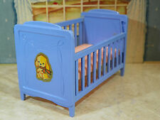 BLUE BABY CRIB Ideal Vintage Dollhouse Furniture Renwal Miniature Plastic