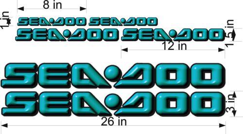 "26/"" Vinyl Vehicle Graphic Decal Sticker Bonus Pack SEA-DOO 3D Logo TEAL"