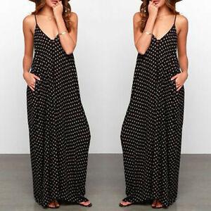 Summer-Women-Sleeveless-Hippie-Long-Maxi-Polka-Dots-Loose-Beach-Sundress-Dress