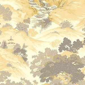 Archives-Oriental-Paysage-Papier-Peint-Jaune-Crown-M1192-Chine
