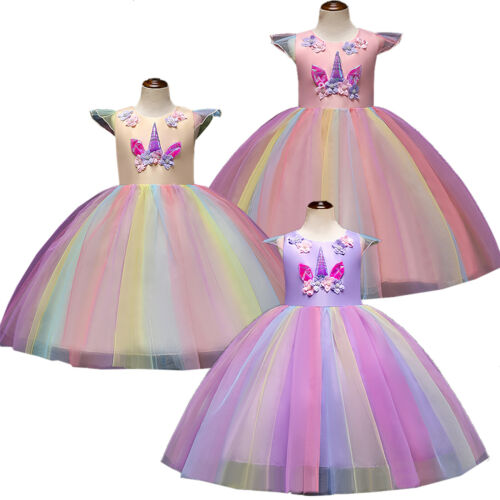 Unicorn Mesh Dress Princess Fancy Costume Party Pageant Tulle Girls Tutu Xmas UK