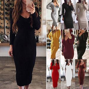 04b760554c5 Women's Winter Long Sleeve Sweater Bodycon Dress Slim Fit Casual ...
