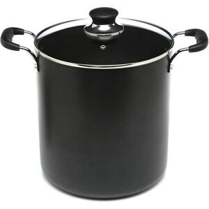 Large 12 Quart Black Stock Pot With Lid Aluminum Non