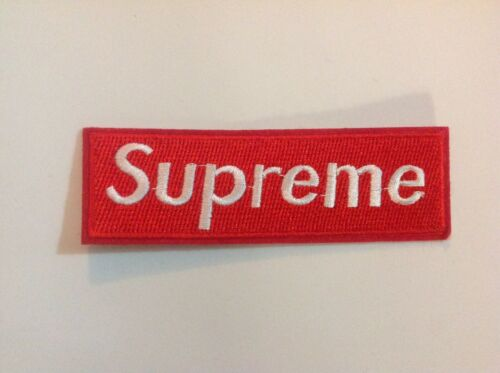 """4.5/"""" X 1.75/"""" Wine Red Supreme Box Logo DIY Iron On Embroidered Applique Patch"""