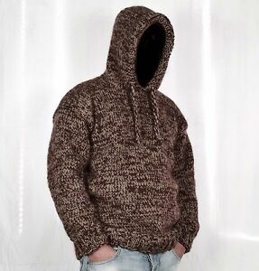 Hand Knitted 100% WOOL Pullover Men Sweater * hoodie * SOFT Jumper ...