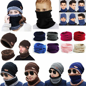 Mens Womens Unisex Knitted Beanie Hat Scarf Set Winter Warm Balaclava Ski Caps