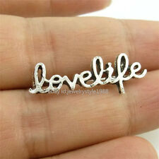 14665*40PCS Silver Vintage Love Life Words Pendant Connector Charm Alloy Antique