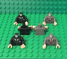 Lego X6 New Black / Dark Bluish Gray Suit With Tie Pattern Torso W/ Flesh Hands
