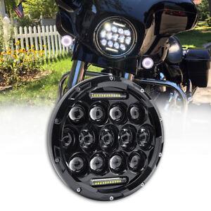 7-034-Motorcycle-Projector-LED-Headlight-Hi-Lo-Beam-Light-Lamp-For-Harley-Jeep-JK