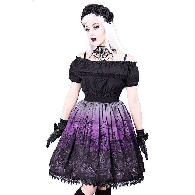 Restyle cimetière violet ombre dentelle évasée noir elegent gothic lolita jupe