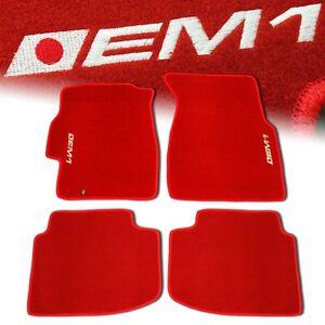 96 00 Honda Civic Em1 Custom Fit Floor Mats Non Skid Carpet Set Kit 4 Pc Red Ebay