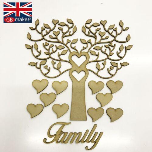 Árbol familiar Kit Set Corazón 3mm Mdf Corte Láser De Madera Artesanal en blanco al por mayor de boda