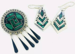 Vintage-Taxco-Sterling-Silver-Brooch-amp-Earrings-Demi-Inlaid-Malachite-amp-Onyx