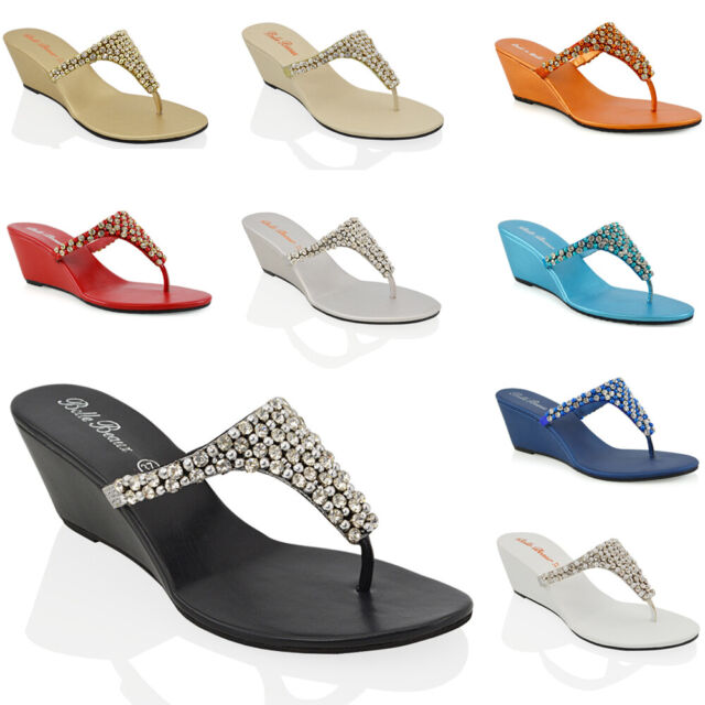 5f9e105a3c3 Womens Low Heel Wedge Diamante Toe Post Ladies Sparkly Dressy Party Sandals  3-9