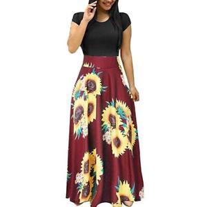 Boho-Casual-Maxi-Party-Short-Sleeve-Cocktail-Long-Beach-Sundress-Women-039-s-Dress