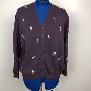 Eddie-Bauer-Womens-Sweater-Size-XXL-100-Cotton-Floral-Embroidered-Purple-V-Neck