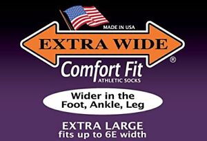 Extra-Wide-Comfort-Athletic-Crew-Sport-Socks-MADE-IN-USA-Big-amp-Tall-Biggest-Sock