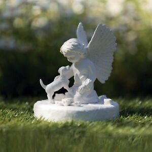 Angel & Dog Statue Memorial loss of your pet for grave keep sake White 38418