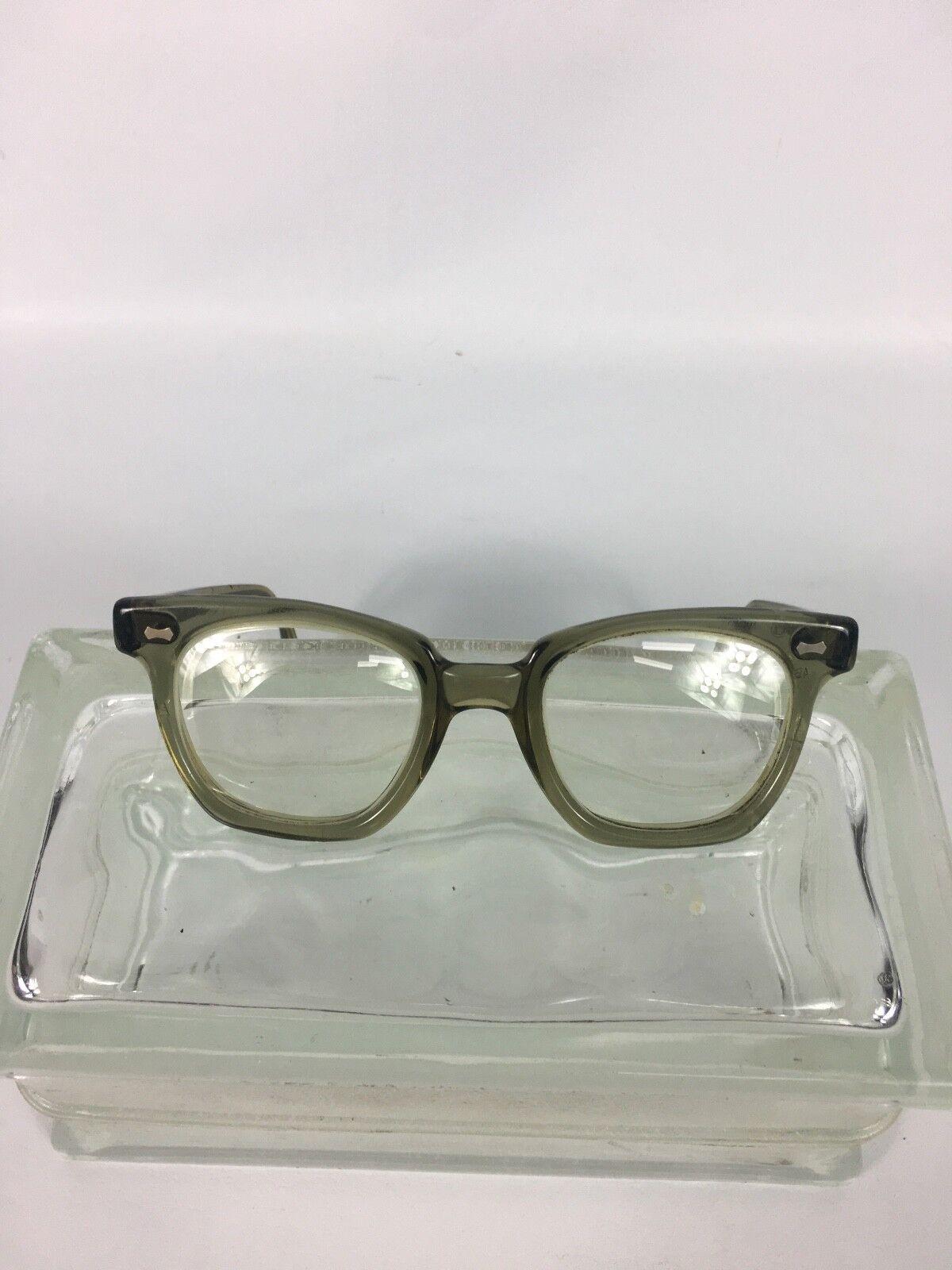 * US Safety * Vintage Glasses Retro Clear Gray 4 3/4 Mod Steampunk Prescription!